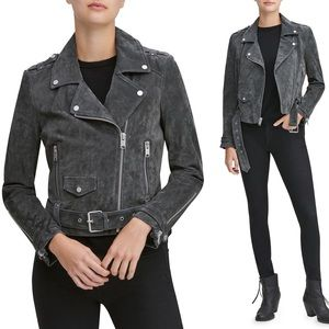 NWT Suede Moto Jacket - Dusty Charcoal Gray